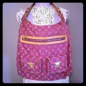 Rare authentic Louis vuitton pink denim purse bag